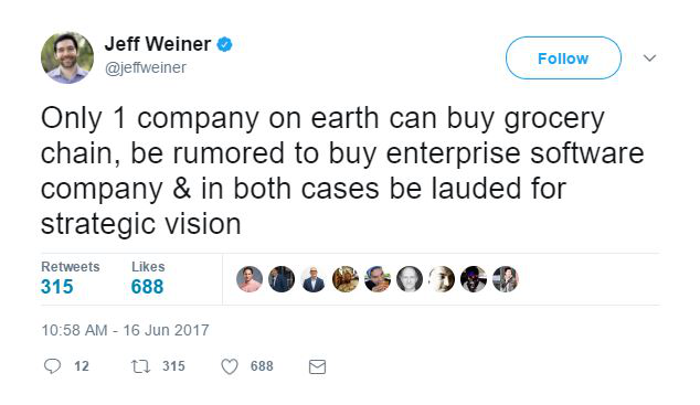 Tweet di Jeff Weiner su Amazon Whole Foods