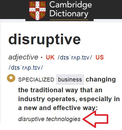 Il vocabolo disruptive secondo Cambridge